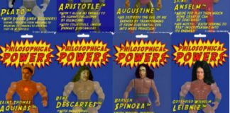 Action figures de filósofos, com super poderes
