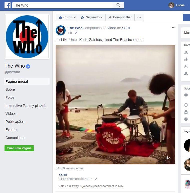 E o The Who noticiou o show de Zak Starkey com os Beach Combers