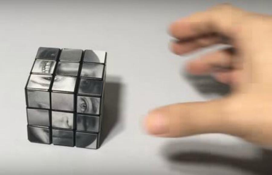 Fizeram um cubo mágico que usa rostos em vez de cores