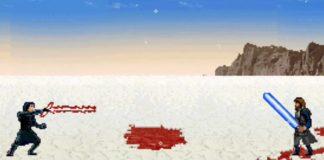 Combate final de Star Wars 8: Os Últimos Jedi. em 16-bit