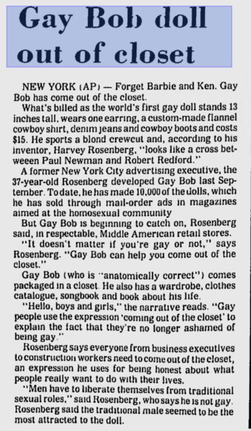 Gay Bob: o action figure que saiu do armário