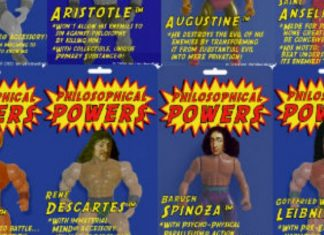 Action figures de filósofos, com super poderes
