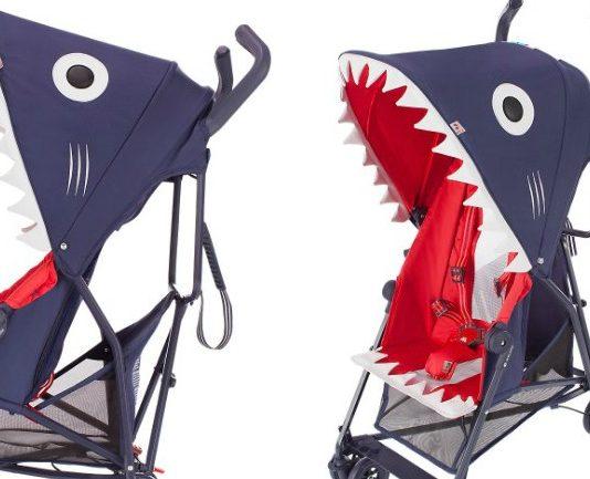 Você colocaria seu filho num carrinho de bebê em forma de tubarão?