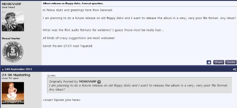 Diálogo em fórum sobre lançar música em disquete
