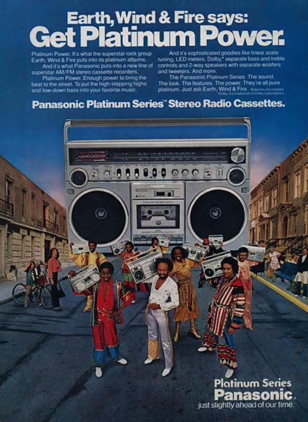 Earth, Wind & Fire ajudando a vender som da Panasonic em 1980