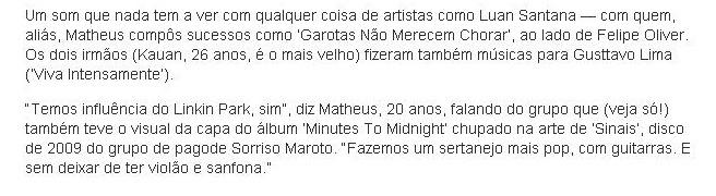 Matheus & Kauan fãs de Linkin Park