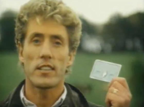 Roger Daltrey felizão com o American Express em 1985