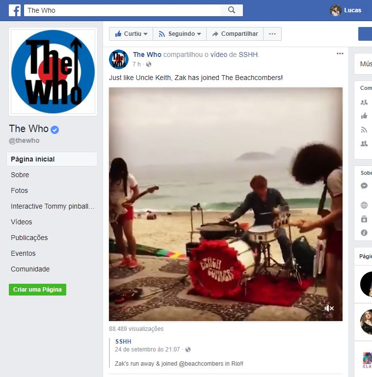E o The Who noticiou o show de Zak Starkey com os Beach Combers
