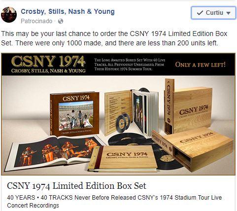 Crosby, Stills, Nash & Young avisam: a caixa de 1974 está acabando