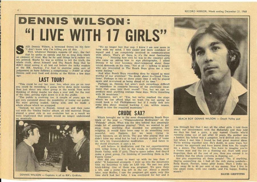 """Passos de dança, 17 garotas e """"congelamento"""": Dennis Wilson fala sobre a Família Manson em 1968"""