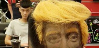 Um sujeito mandou raspar o rosto do Donald Trump no cabelo