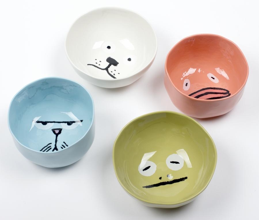 Criaturas côncavas: bowls com caras de animais