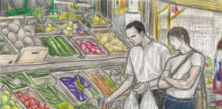 Iggy Pop e Florian Schneider (Kraftwerk) comprando aspargos