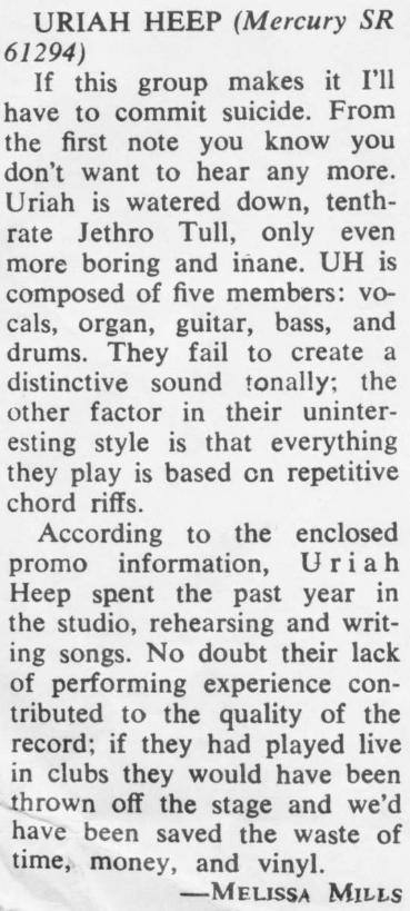 Quando o primeiro disco do Uriah Heep provocou ódio numa jornalista