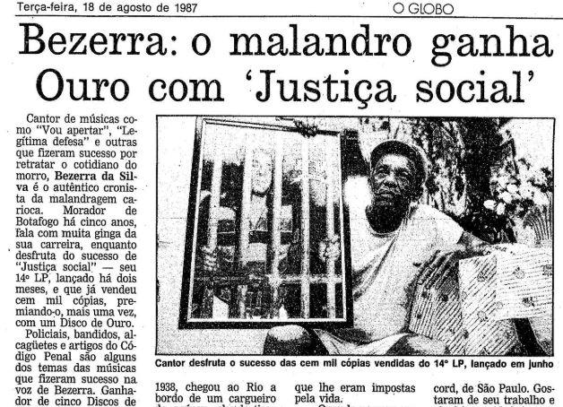 """""""Grande presença!"""": Bezerra da Silva canta A Semente para crianças"""