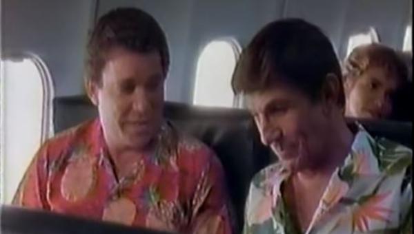 William Shatner e Leonard Nimoy num anúncio de empresa aérea